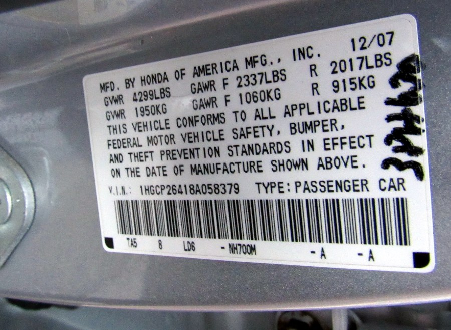 Used Honda Accord Sdn 4dr I4 Auto LX-P 2008   MFG Prestige Auto Group. Paterson, New Jersey