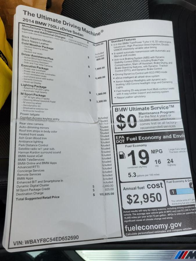 Used BMW 7 Series 4dr Sdn 750Li xDrive AWD 2014 | Center Motorsports LLC. Shelton, Connecticut
