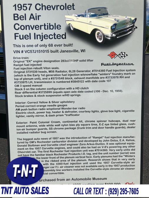 Used Chevrolet BELAIR FUEL INJECTION 1957   TNT Auto Sales USA inc. Bronx, New York