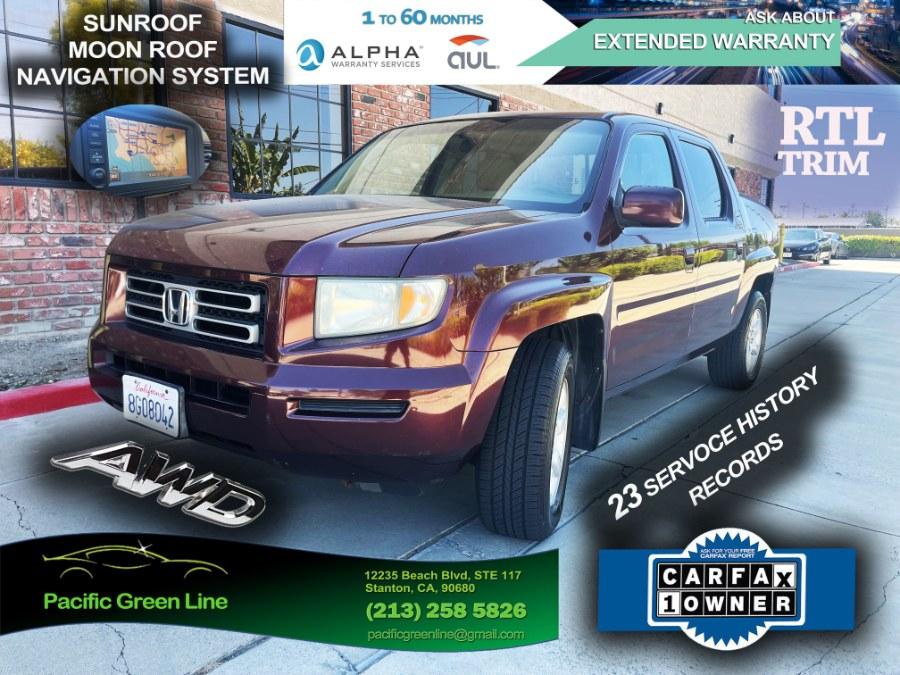 Used Honda Ridgeline 4WD Crew Cab RTL w/Leather & Navi 2007 | Pacific Green Line. Stanton, California